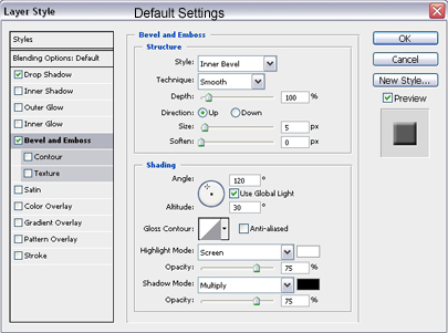 Bevel & Emboss Settings