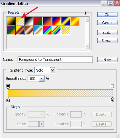 Gradient Fill Settings - Foreground to Transparent