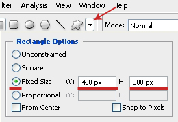 Rectangle Size Settings