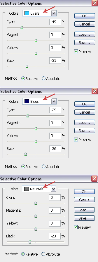 Selective Color Settings