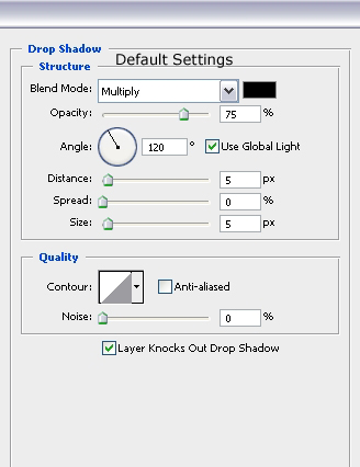 Drop Shadow Settings