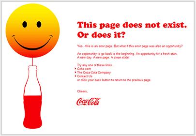 coca-cola.com 404 Error Page