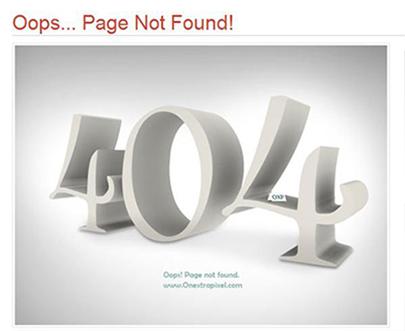 onextrapixel.com 404 Error Page